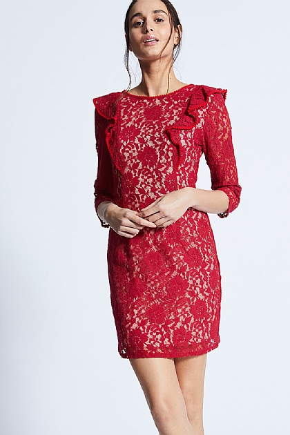 Red Ruffle Lace Full Sleeved Mini Dress