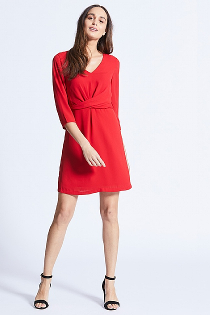Red Long Sleeve Twist Front Midi Dress