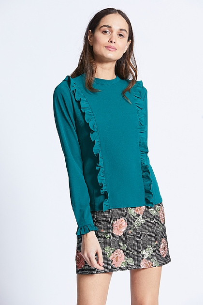 Green Ruffle Front Long Sleeve Knit