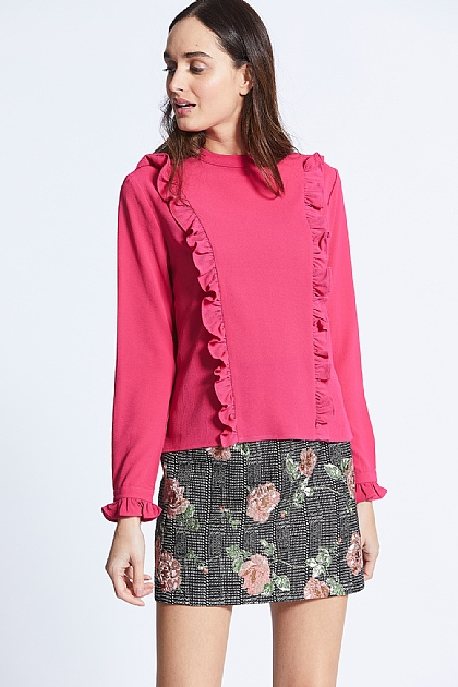 Pink Ruffle Front Long Sleeve Knit