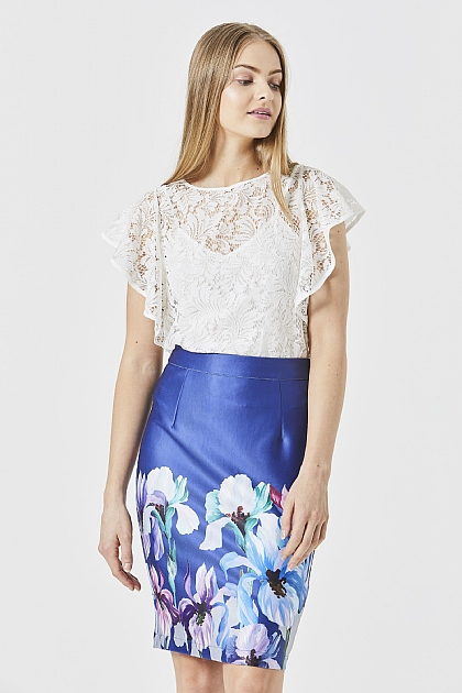 Navy Floral Pencil Stretch Midi Skirt