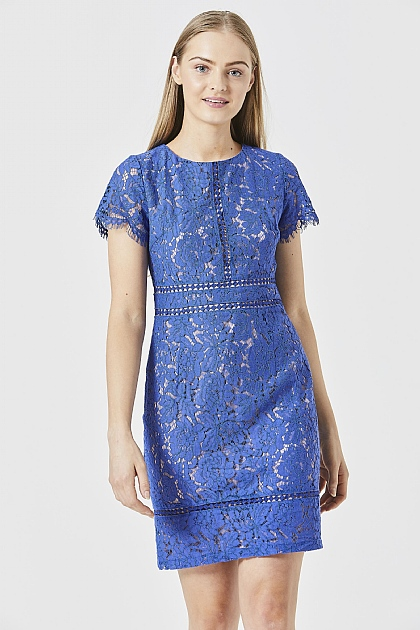Blue Lace Bodycon Tie Back Mini Dress