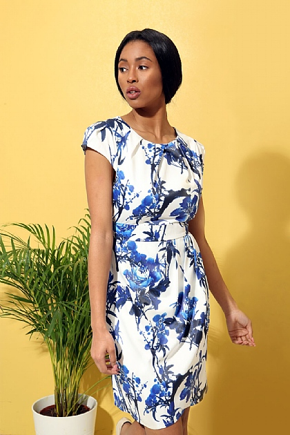 Floral Fitted Mini Dress in White and Blue