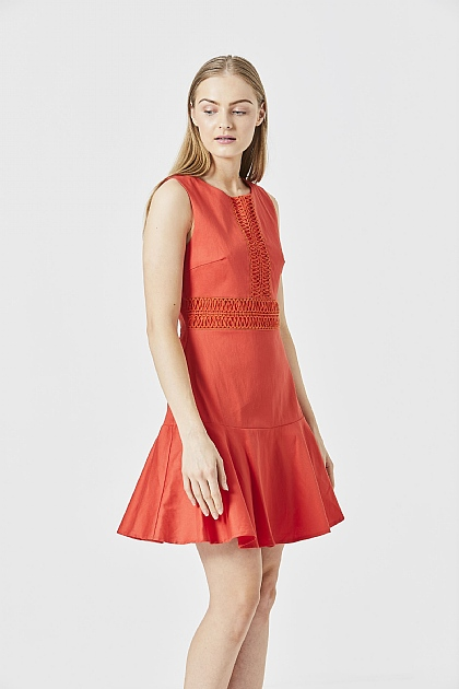Red Sleeveless Lace Panel Skater Mini Dress