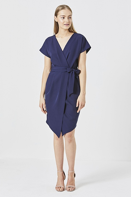 Navy Wrap Midi Work Dress