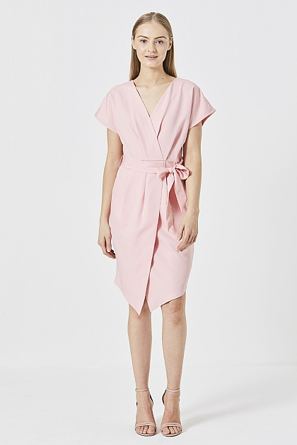 Pink Wrap Midi Work Dress