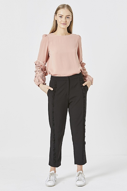 Black Ruffled Front Smart Peg Trousers