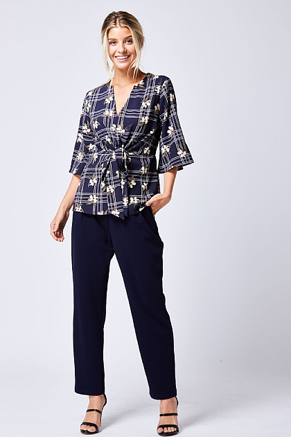 Navy Floral Checked Wrap Top