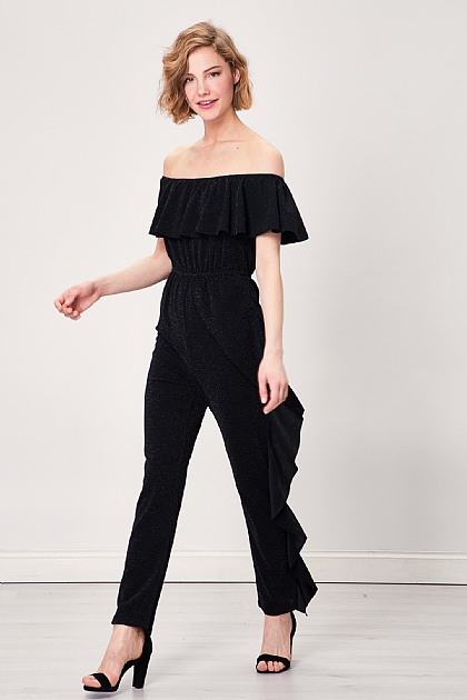 Black Sparkly Off Shoulder Ruffled Jumpsuit