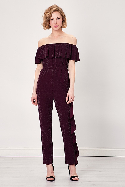 Wine Sparkly Off Shoulder Ruffled Jumpsuit