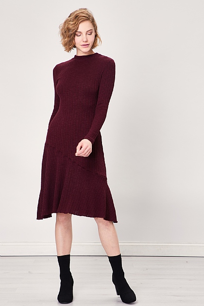 Burgundy Rib Knitted Long Sleeve Midi Dress