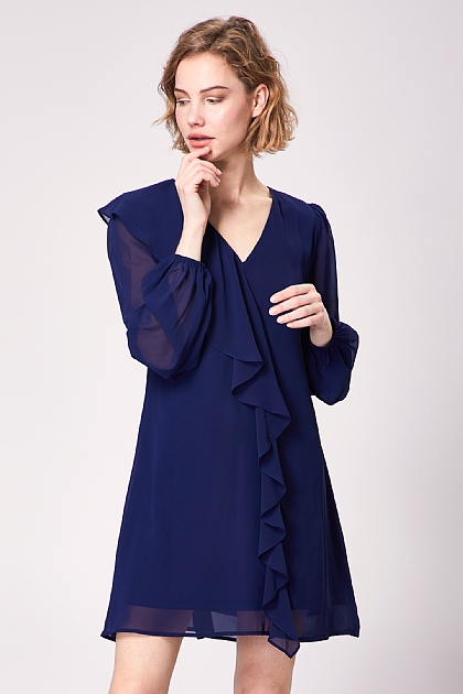 Navy V Neck Long Sleeve Mini Dress