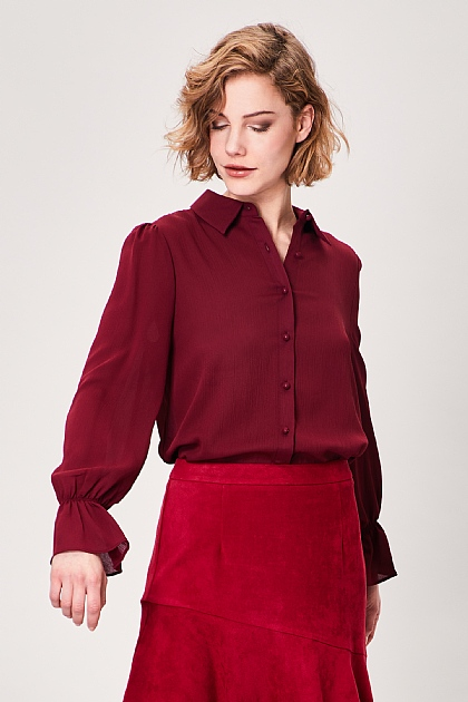 Burgundy Elasticated Flute Sleeve Blouse