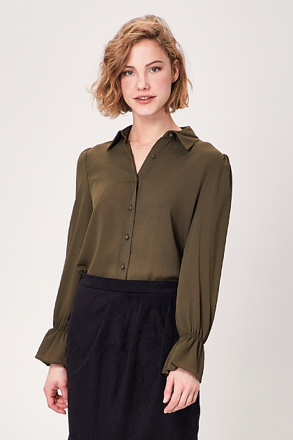 Khaki Green Elasticated Flute Sleeve Blouse