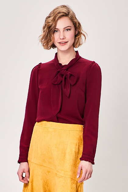Burgundy Pussy Bow Long Sleeve Blouse