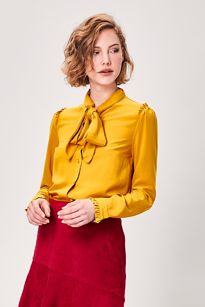 Yellow Pussy Bow Long Sleeve Blouse