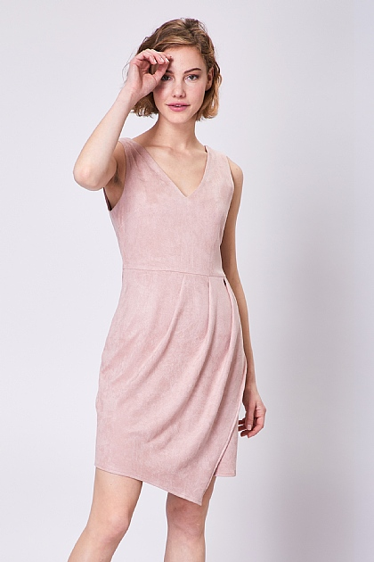 Pink Suedette V Neck Sleeveless Mini Dress