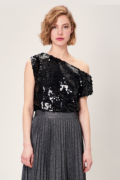 Black Sequin Off Shoulder Party Top