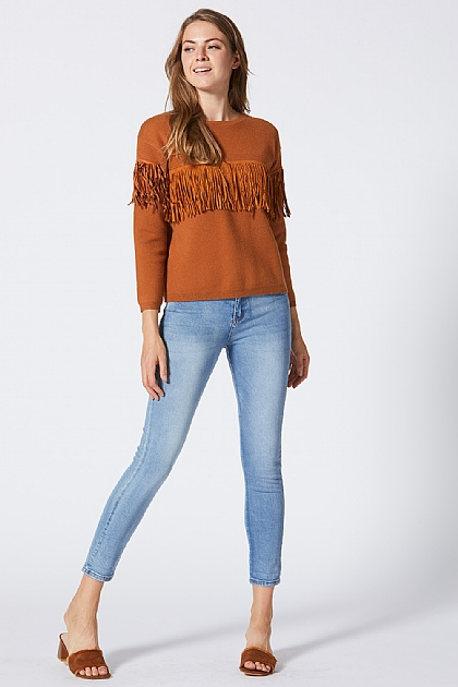 Brown Fringed Tassle Knit Jumper