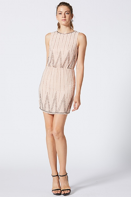 Nude Embellished Beaded Mini Dress