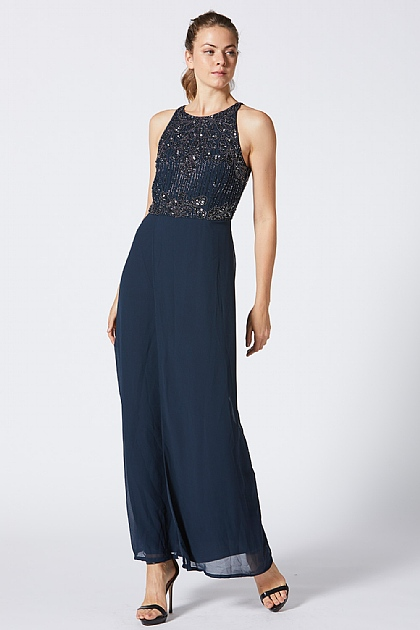 Navy Embellished Side Slit Maxi Dress