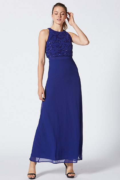 Blue Embellished Sequin Halter Neck Dress