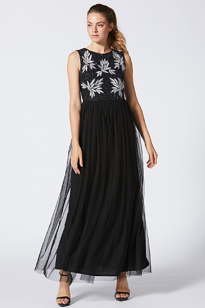 Black Embellished Bodice Maxi Dress