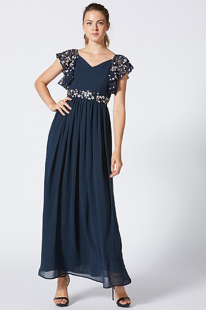 Navy Blue Maxi with Embellished Detailing