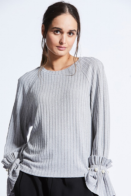 Grey Long Funnel Sleeved Knit Top