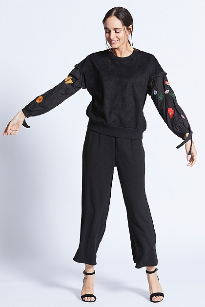 Knitted Black Jumper With Floral Sleeve Detailing