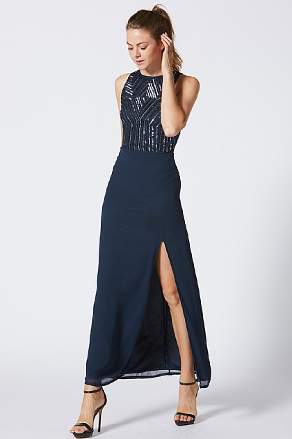 Navy Embellished Slit High Neck Maxi