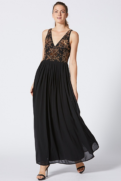 Black and Gold Deep V Maxi Dress