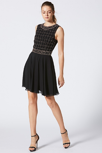 Black Embellished Grid Bodice Skater Dress