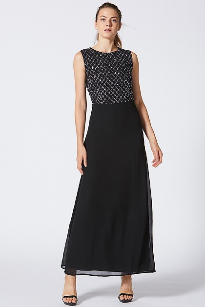 Black Embellished Sequin Maxi Dress