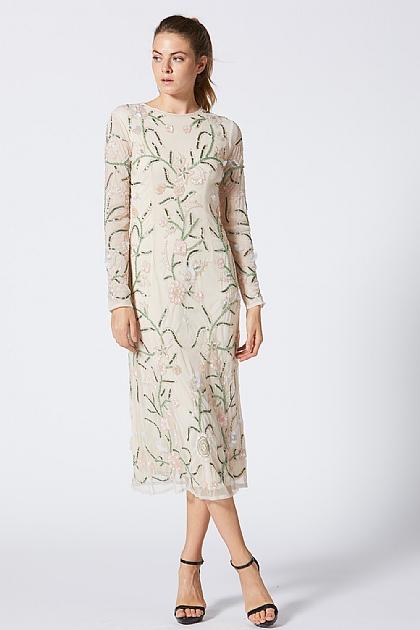 655e9927d947 Cream Long Sleeve Embellished Floral Midi Dress