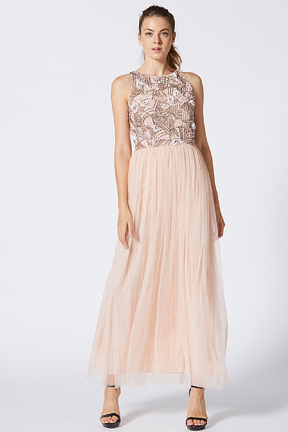 Pink Embellished Sequin Maxi Dress