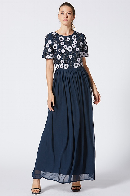 Navy Floral Short Sleeve Maxi Embellished Dress