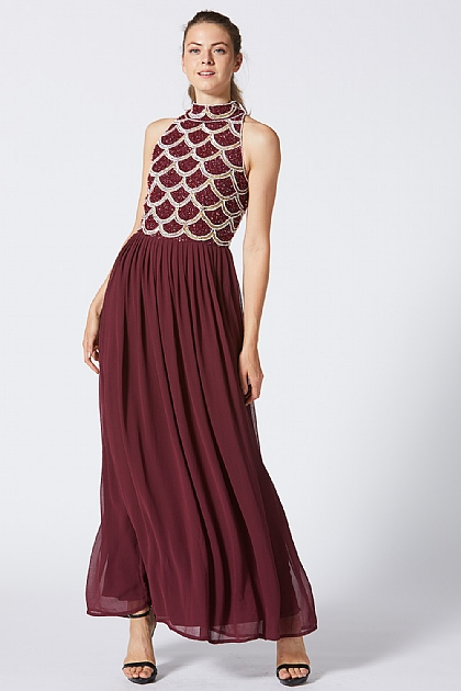 Burgundy Fish Tail Embellished Maxi Dress