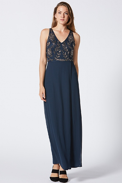 Navy Embellished Maxi Slit Dress