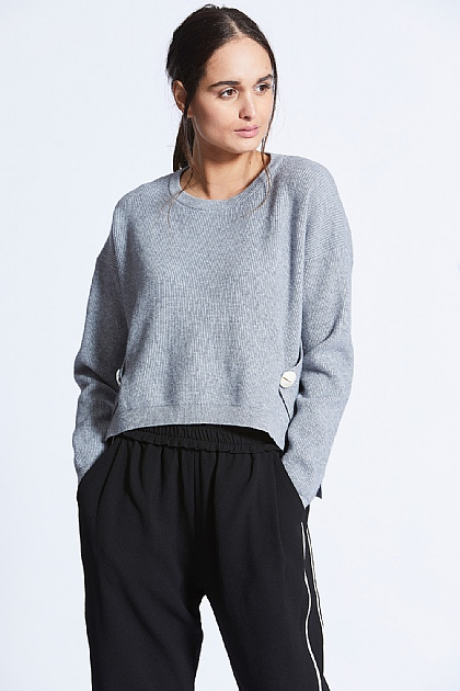 Grey Knit Sweat With Button Wrap