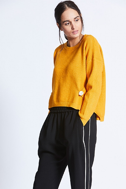 Mustard Yellow Knit Sweat With Button Wrap
