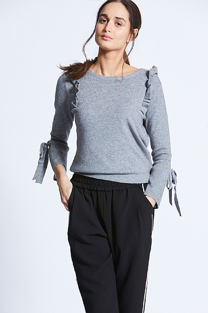 Grey Knitted Long Sleeve Ruffle Top