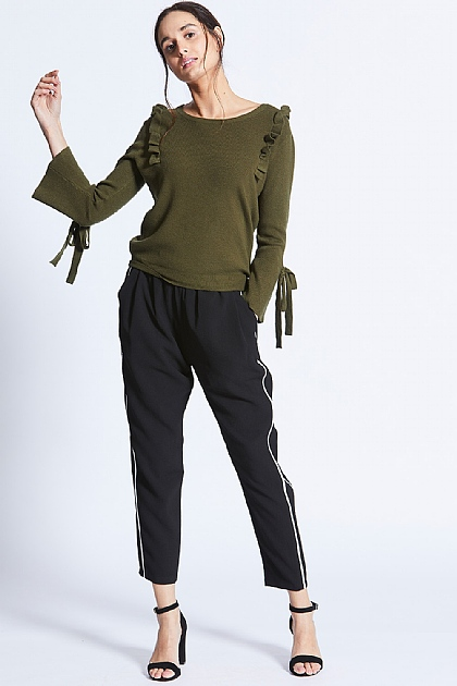 Olive Green Knitted Long Sleeve Ruffle Top