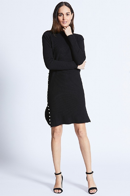 Black Jumper Dress with Pearl Sides