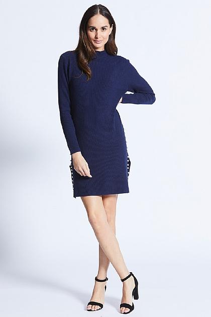 Navy Blue Jumper Dress with Pearl Sides