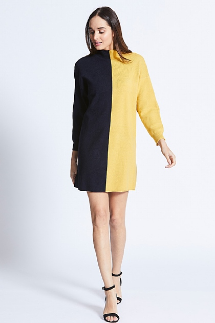 Navy and Yellow Knit Jumper Dress