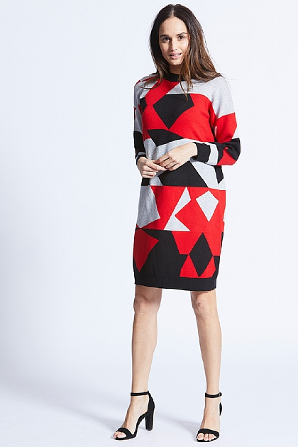 Red Oversized Jumper Dress With Aztec Print