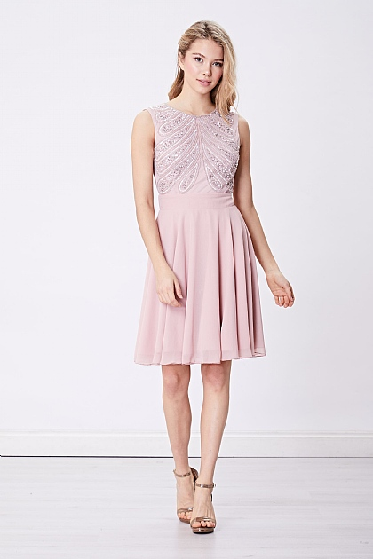 Pink Halterneck Embellished Mini Dress with Tule Skirt