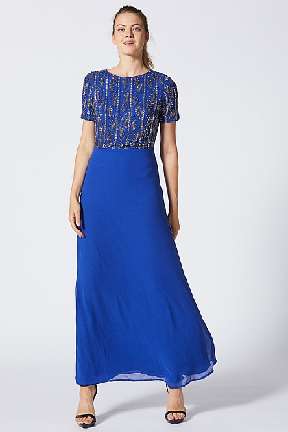 Blue Embellished Sequin Maxi Dress