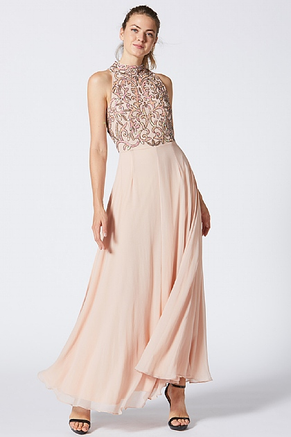 Pink Embellished Beaded Top Maxi Dress